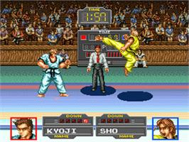 In game image of Taekwondo on the Nintendo SNES.