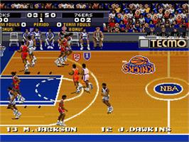 In game image of Tecmo Super NBA Basketball on the Nintendo SNES.