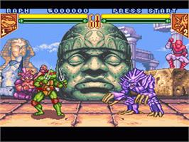 In game image of Teenage Mutant Ninja Turtles: Tournament Fighters on the Nintendo SNES.