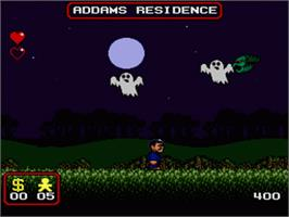In game image of The Addams Family on the Nintendo SNES.