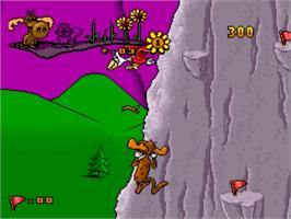 In game image of The Adventures of Rocky and Bullwinkle & Friends on the Nintendo SNES.