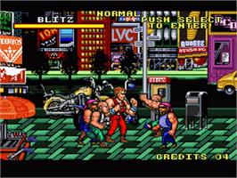 In game image of The Combatribes on the Nintendo SNES.