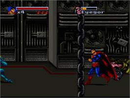 In game image of The Death and Return of Superman on the Nintendo SNES.