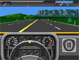 In game image of The Duel: Test Drive II on the Nintendo SNES.