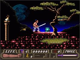 In game image of The First Samurai on the Nintendo SNES.