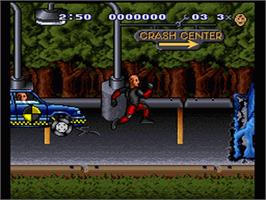 In game image of The Incredible Crash Dummies on the Nintendo SNES.