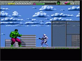 In game image of The Incredible Hulk on the Nintendo SNES.
