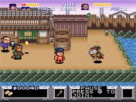 In game image of The Legend of the Mystical Ninja on the Nintendo SNES.