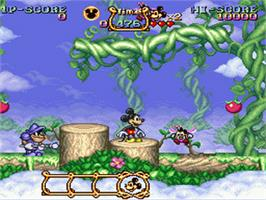 In game image of The Magical Quest Starring Mickey Mouse on the Nintendo SNES.