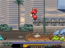 In game image of The Ninja Warriors on the Nintendo SNES.
