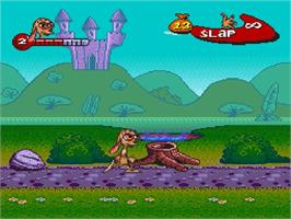 In game image of The Ren & Stimpy Show: Buckaroo$! on the Nintendo SNES.