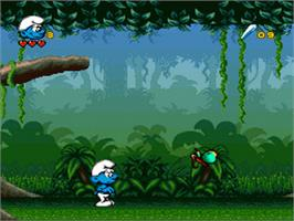 In game image of The Smurfs Travel the World on the Nintendo SNES.