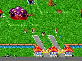 In game image of Theme Park on the Nintendo SNES.