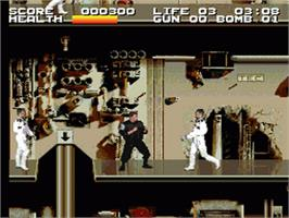 In game image of Timecop on the Nintendo SNES.