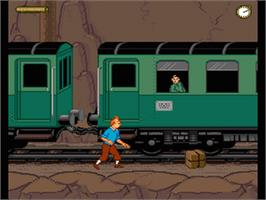 In game image of Tintin in Tibet on the Nintendo SNES.