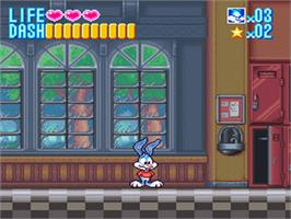 In game image of Tiny Toon Adventures: Buster Busts Loose! on the Nintendo SNES.