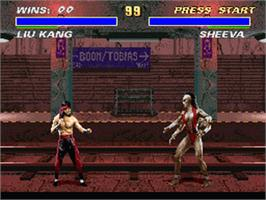 In game image of Ultimate Mortal Kombat 3 on the Nintendo SNES.