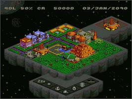 In game image of Utopia: The Creation of a Nation on the Nintendo SNES.