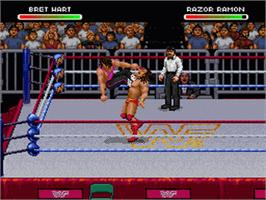 In game image of WWF Raw on the Nintendo SNES.