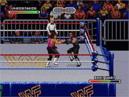 In game image of WWF Royal Rumble on the Nintendo SNES.