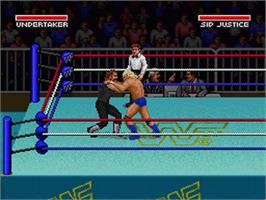 In game image of WWF Super Wrestlemania on the Nintendo SNES.