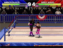 In game image of WWF Wrestlemania: The Arcade Game on the Nintendo SNES.