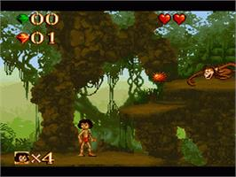 In game image of Walt Disney's The Jungle Book on the Nintendo SNES.