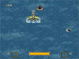 In game image of Waterworld on the Nintendo SNES.