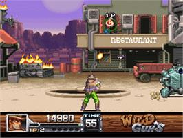 In game image of Wild Guns on the Nintendo SNES.