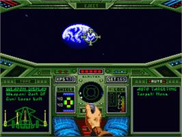 In game image of Wing Commander: The Secret Missions on the Nintendo SNES.