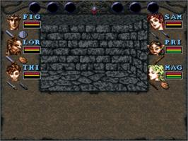 In game image of Wizardry VI: Bane of the Cosmic Forge on the Nintendo SNES.