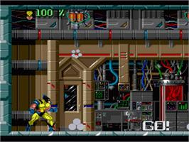 In game image of Wolverine: Adamantium Rage on the Nintendo SNES.