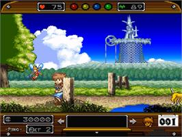 In game image of Wonder Project J: Kikai no Shounen Pino on the Nintendo SNES.