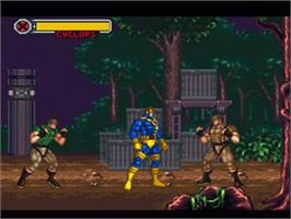In game image of X-Men: Mutant Apocalypse on the Nintendo SNES.