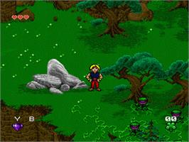 In game image of Young Merlin on the Nintendo SNES.