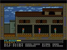 In game image of Ys III: Wanderers from Ys on the Nintendo SNES.