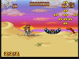 In game image of Zero the Kamikaze Squirrel on the Nintendo SNES.