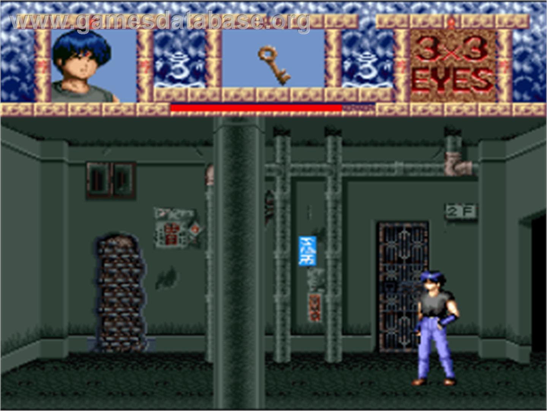 In game image of 3x3 Eyes: Juuma Houkan on the Nintendo SNES.