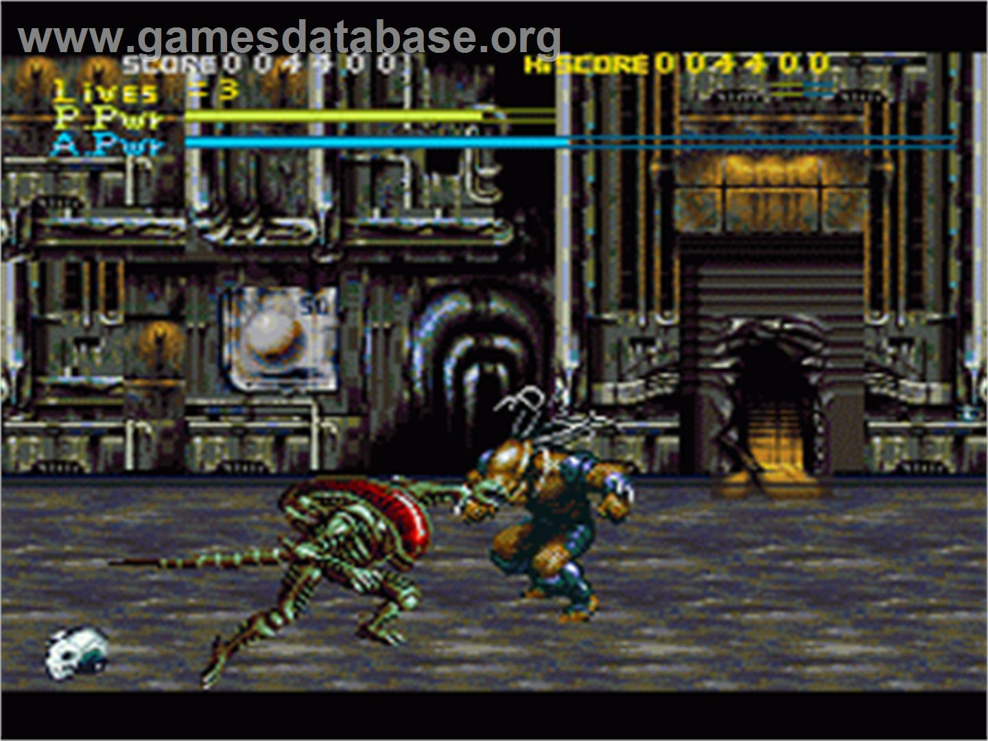 In game image of Alien Vs. Predator on the Nintendo SNES.