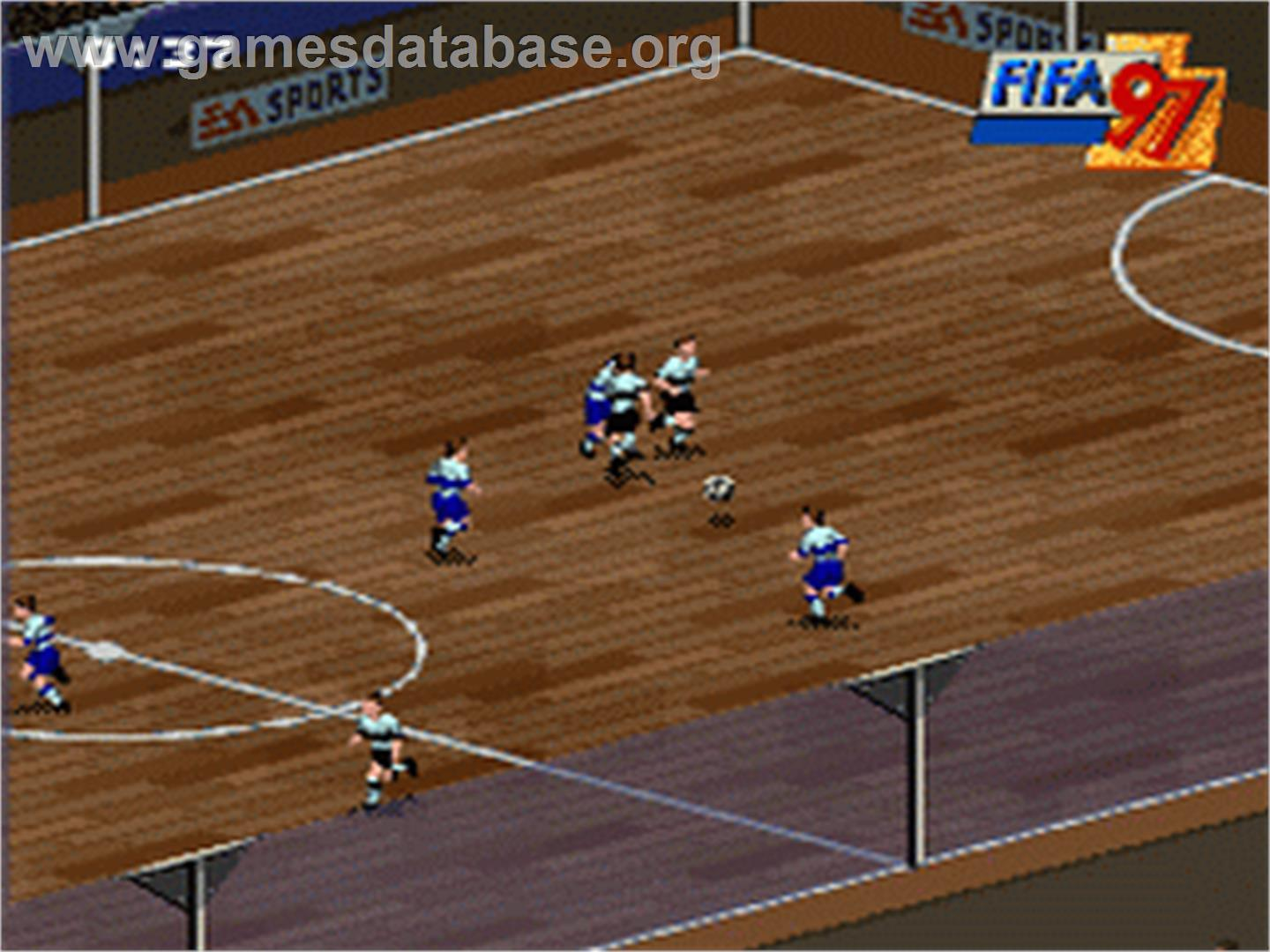 In game image of FIFA 97: Gold Edition on the Nintendo SNES.