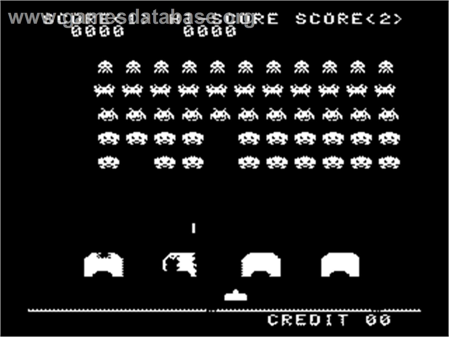 In game image of Space Invaders on the Nintendo SNES.