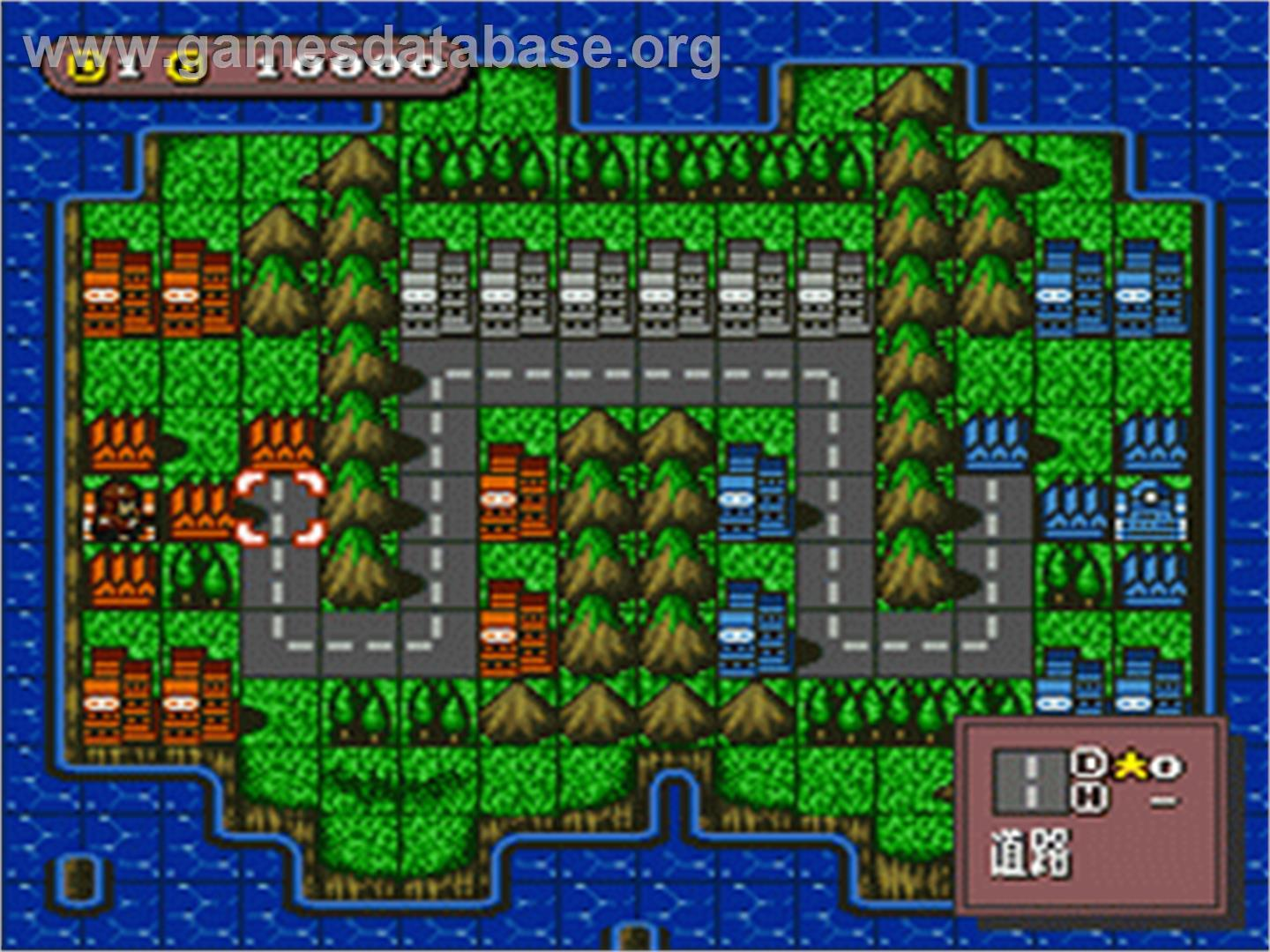 In game image of Super Famicom Wars on the Nintendo SNES.