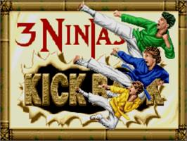 Title screen of 3 Ninjas Kick Back on the Nintendo SNES.