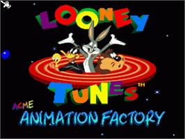 Title screen of ACME Animation Factory on the Nintendo SNES.