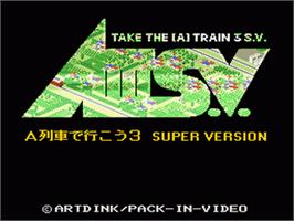 Title screen of AIII S.V.: A Ressha de Ikou 3 Super Version on the Nintendo SNES.