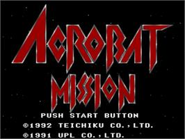 Title screen of Acrobat Mission on the Nintendo SNES.