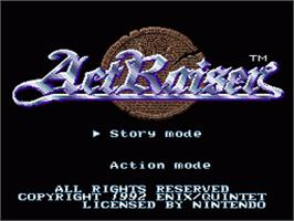 Title screen of ActRaiser on the Nintendo SNES.