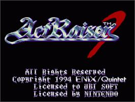 Title screen of ActRaiser 2 on the Nintendo SNES.
