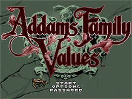 Title screen of Addams Family Values on the Nintendo SNES.