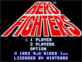 Title screen of Aero Fighters on the Nintendo SNES.